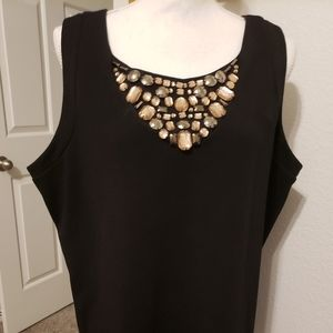 Plus Size Black Sleeveless Peplum Top with Jewels